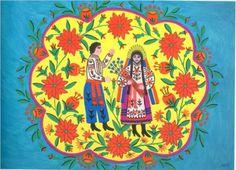 Maria Primachenko - Flax Blooms and a Cossack Goes to a Girl Льон цвіте, козак до дівчини іде