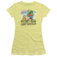 GARFIELD/CAMP GARFIELD - S/S JUNIOR SHEER - BANANA - SM  CAMP GARFIELD | Cartoon T-Shirts | Mopixiestore.com