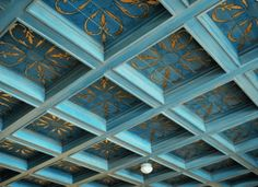 Stenciled Metallic Gold And Blue Coffered Ceiling Designs