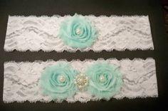 Mint Garter / Wedding garter / Lace garter / by BloomsandBlessings