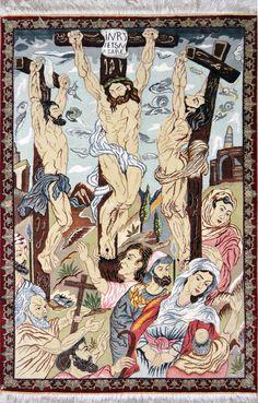 Qum Jesus Crufix Silk Persian Rug - Item# 1410  Size: 80 x 123 (cm)      2' 7 x 4' 0 (ft)