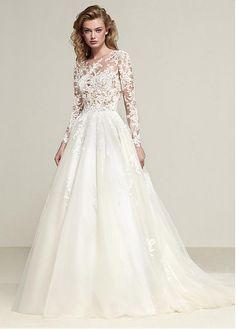 47c324f08ddf Magbridal Exquisite Tulle Jewel Neckline See-through Bodice A-line Wedding  Dress With Lace Appliques. Stili Di Abiti Da SposaAbiti ...