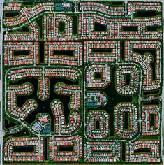 The artificiality of residential communities in Delray Beach, Florida, is striking from space.