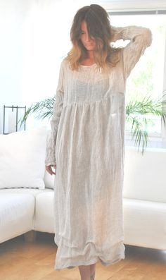 handmade long grey linen dress for many events by YOUSAKO on Etsy, kr2200.00