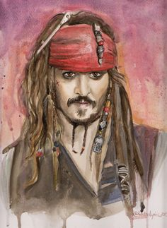 Original watercolour illustration of Johnny Depp as Jack Sparrow by WaterLyrics