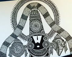 Items similar to Venkateshwara , art print on Etsy Doodle Art Drawing, Zentangle Drawings, Mandala Drawing, Zentangles, Card Drawing, Nature Drawing, Zentangle Patterns, Madhubani Art, Madhubani Painting