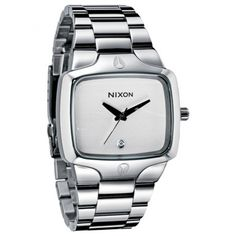 Nixon The Player Silver Stainless Steel Quartz Watch A140-100. For other Nixon watches for men, visit us at http://www.watchsharks.com