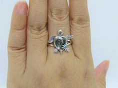 Vintage Sterling Silver Abalone Turtle Ring Size 8   Etsy Turtle Ring, Get Glam, Filigree Ring, White Topaz, Sterling Silver, Cocktail Rings, Silver Rings, Jewels, Vintage