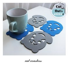 Cat Coasters by CutOutsProductDesign on Etsy Cat Coasters, Tray, Cats, Design, Gatos, Kitty Cats, Trays, Cat, Kitty