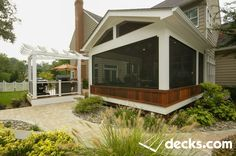 This deck/porch is part of a complete renovated backyard. The porch has a motorized screen an all three sides to maximize the view. The grill area is covered with an angled fiberglass pergola. Pergola Ideas For Patio, Pergola Decorations, Deck With Pergola, Cheap Pergola, Backyard Pergola, Pergola Plans, Pergola Kits, Porch Ideas, Curved Pergola