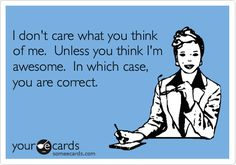 I don't care what you think of me. Unless you think I'm awesome. In which case, you are correct. lol :D Funny Shit, Haha Funny, Funny Stuff, Stupid Stuff, Just For Laughs, Just For You, I Love To Laugh, E Cards, Someecards