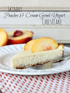 Skinny Peaches & Cream Greek Yogurt Cheesecake