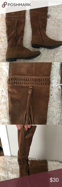 Knee Brown Fringe Boots! These are beautiful over the knee brown boots dressed up with fringe on the outer legs! They can also be folded over by unzipping the back piece and be lower than the knee!                                                                                                     💕don't hesitate to ask questions 👸🏼smoke & animal free home 🦋use the offer feature to negotiate prices 🛍 h a p p y  s h o p p i n g ! Shoes