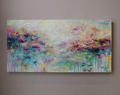 Pintura abstracta pintura paisaje, pintura acrílica abstracta, arte abstracto-teal, rosa turquesa, verde, pintura en lona,