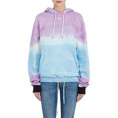 Off-White c/o Virgil Abloh Women's Tie-Dyed Cotton Terry Hoodie (€490) ❤ liked on Polyvore featuring tops, hoodies, kangaroo pocket hoodie, hooded sweatshirt, long sleeve tops, tie dye hoodie and tie dye hoodies