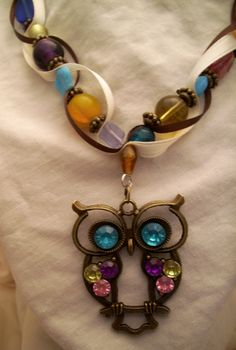 Owl necklace Multicolored beads and ribbon by AlyxAndreaDesign, $24.00