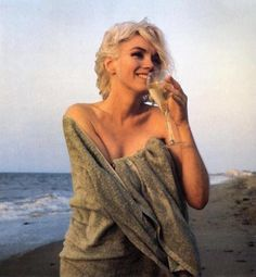 Marilyn At The Beach Sipping A Glass Of Wine