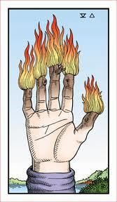 The Element associated with the Wands of Tarot is Fire. To illustrate, the Tarot wands are associated with the fire signs of the zodiac: Aries, Leo & Sagittarius.  With a cast of personalities represented in these zodiac signs, we can't possibily stay in stagnation for long. The transformative power of Fire and it's influence, is ever present in the suit of wands --tarot teachings