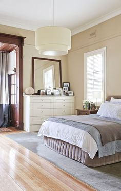Stylish Federation Home Melbourne - Master bedroom I like the ceiling pendant shade. Master Bedroom Design, Home Bedroom, Bedroom Decor, Bedroom Ideas, Bedroom Shutters, Peaceful Bedroom, T Home, Apartment Living, Living Room