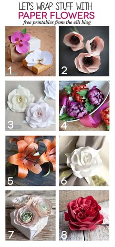 These 8 printable DIY paper flowers are absolutely gorgeous and are a dramatic and realistic looking gift topper. Use these in place of a traditional bow.