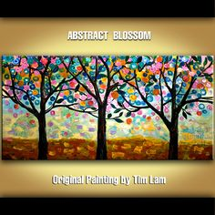 Original decorative tree Surreal Flowering Season, Contemporary Huge abstract painting Modern Texture art by tim lam 48x24. $268.00, via Etsy.