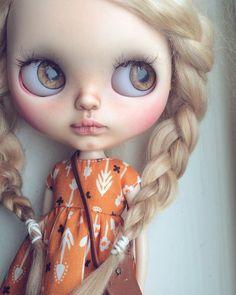 Custom Blythe Doll by Tiina. rainy day, window sill