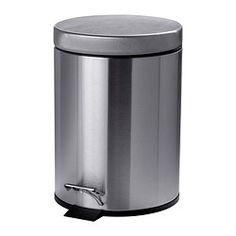 IKEA - STRAPATS, Pedal bin, matte black, 1 gallon, , The bin is easy to move since it has a handle on the back.Easy to empty and clean as the inner bucket can be removed.You can use this bin anywhere in your home, even in damp areas like the kitchen and bathroom.