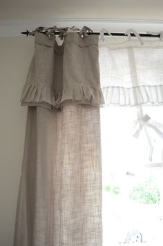 Bedroom Window Treatment. White, Grey, Black, Chippy, Shabby Chic, Whitewashed, Cottage, French Country, Rustic, Swedish decor Idea. ***Pinned by oldattic ***.