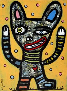 original HUGHART outsider funky pet art folk abstract painting GAME FACE #OutsiderArt