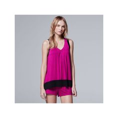Women's Simply Vera Vera Wang Pajamas: Whisper Garden Tank Top & Boxer Shorts PJ Set, Size: XL, Light Pink