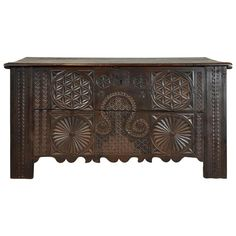 Spanish Carved Storage Chest, 18th Century | From a unique collection of antique and modern commodes and chests of drawers at https://www.1stdibs.com/furniture/storage-case-pieces/commodes-chests-of-drawers/