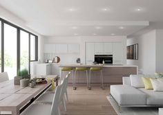 Modern Kitchen Open plan living and kitchen area with Reno in White open grained and island in Stone Grey