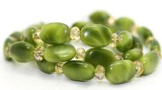 Green Agates and Iridescent Champagne Crystals Necklace and Earrings | AyaDesigns - Jewelry on ArtFire