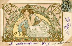 Alphonse Mucha, Fleur de Cerisier post card.