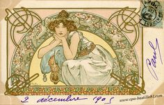 Mucha Post Card - Fleur de Cerisier