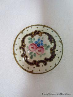 Antique Enamel Button - 1800s