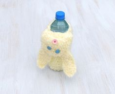 Plastic bottle cover Glass bottle cozy Baby bottle sleeve For kids Crochet cozy Animal shaped cozy Cream bunny hare For animal lovers - pinned by pin4etsy.com