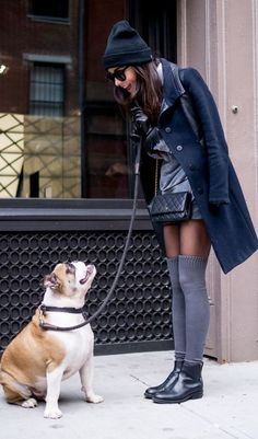 trendy outfit   hat + black coat + sweater dress + bag + over knee socks + boots