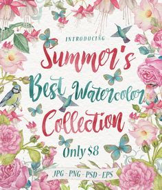 Summer's Best Watercolor Collection - Graphic Design Bundle Deals - Graphicloot Watercolor Illustration, Design Bundles, Graphic Design, Summer, Projects, Collection, Art, Log Projects, Art Background