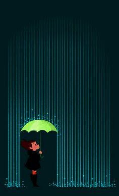 Lluvía copiosamente. Llovían charcos, líneas, mares, baldes...