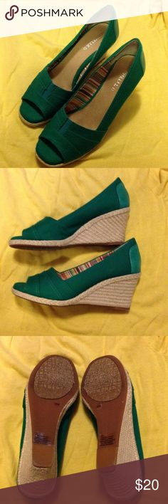 MIchelle D size 8, green wedges Michelle D size 8 teen wedges, worn a few times, still in great condition Michelle D Shoes Wedges