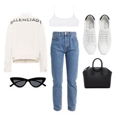 """""""Untitled #23344"""" by florencia95 ❤ liked on Polyvore featuring Prada, Balenciaga, Givenchy and Le Specs"""