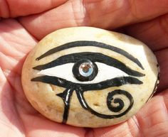 EYE of RA, HORUS Egyptian Protection Healing Hand Painted Rock