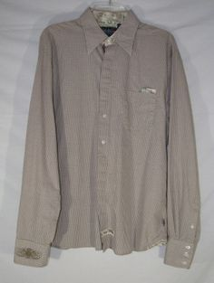 ENGLISH LAUNDRY Shirt CHECKED Casual FLORAL Button Up Size XL Men's