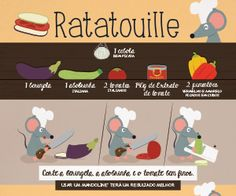 Infográfico receita de Ratatouille. Um prato vegetariano/ vegano e saudável para você preparar e comer assistindo o filme Ratatouille.