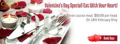 Valentine's Day Special! Eat With Your Heart! Three course meal. $50.00 per head. On 14th February Only.  Book Online: http://www.shavans.com.au/book-online.html