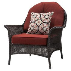 San Marino 4pc All-Weather Wicker Patio Conversation Set w/ Fire Pit - Crimson Red - Hanover