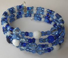 New jewelry - unique, handmade bead memory wire bracelet! Mixed Blue and White Memory Wire Bracelet by VineDesignBeads, $16.00