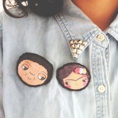 These broches of Diego Rivera and Frida Kahlo (famous Mexican artists) are handmade in Mexico