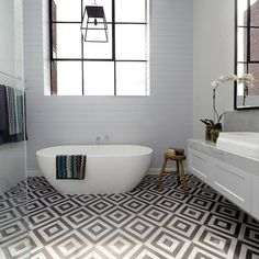 The Block Glasshouse - master bathroom - Darren and Deanne - get the look would these tiles date? i don't know but i love them now. The Block Bathroom, Bathroom Floor Tiles, Laundry In Bathroom, Bathroom Renos, Bathroom Ideas, Bathroom Inspo, Bathroom Tapware, Bathroom Marble, Tub Tile